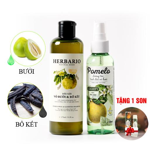 Bộ đôi tinh dầu bưởi Pomelo + Dầu Gội bưởi & Bồ kết Herbario
